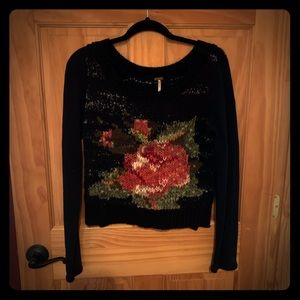 Free People Size Small Floral Sweater